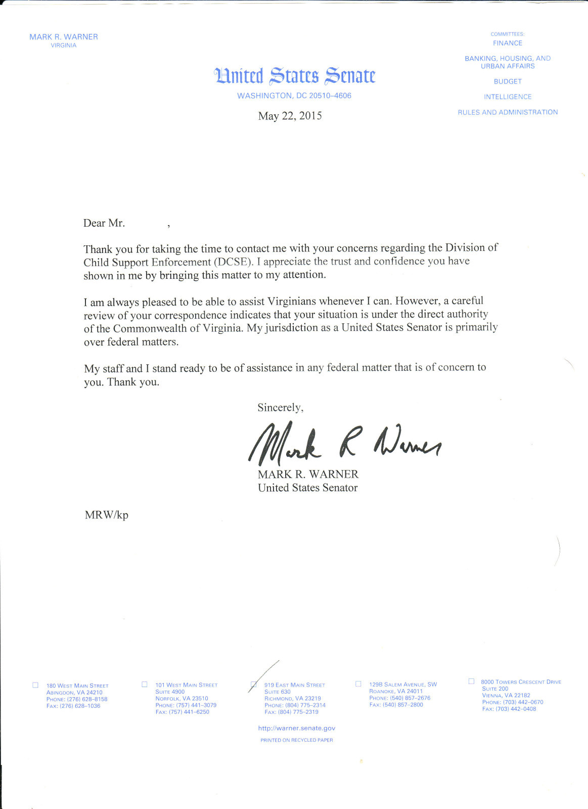 Letter From Senator of Virginia Mark Warner - Mark Warner Virginia State Senator