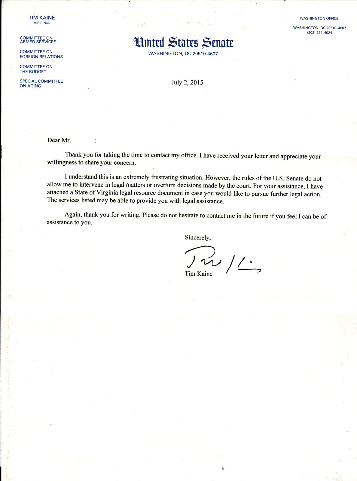 Letter From Virginia State Senator Tim Kaine - Senator of Virginia Tim Kaine